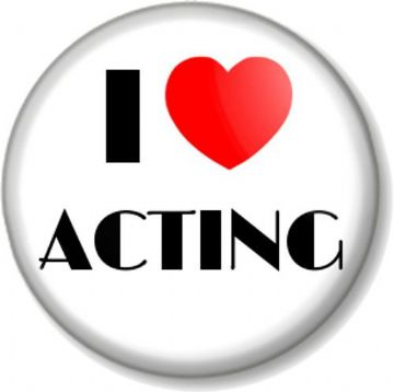 I Love / Heart ACTING Pinback Button Badge The Arts Stage School Theatre Drama